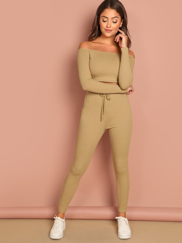 Shein Ribbed Bardot Top & Drawstring Waist Pants Set