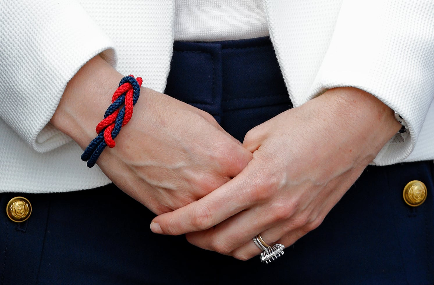 LONDON, UNITED KINGDOM - JUNE 16: (EMBARGOED FOR PUBLICATION IN UK NEWSPAPERS UNTIL 48 HOURS AFTER CREATE DATE AND TIME) Catherine, Duchess of Cambridge (bracelet detail) visits the 1851 Trust roadshow at the Docklands Sailing and Watersports Centre on June 16, 2017 in London, England. The 1851 Trust (of which The Duchess of Cambridge is Patron) is the official charity of Land Rover Ben Ainslie Racing, the British America's Cup team. (Photo by Max Mumby/Indigo/Getty Images)