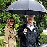 Melania's lighter tortoise pair was styled with a trench dress and Manolo Blahnik snakeskin heels for a second visit to Texas to visit victims of Hurricane Harvey in September 2017.