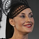 Terry Biviano's lace inspired headpiece was delicate but so stylish.