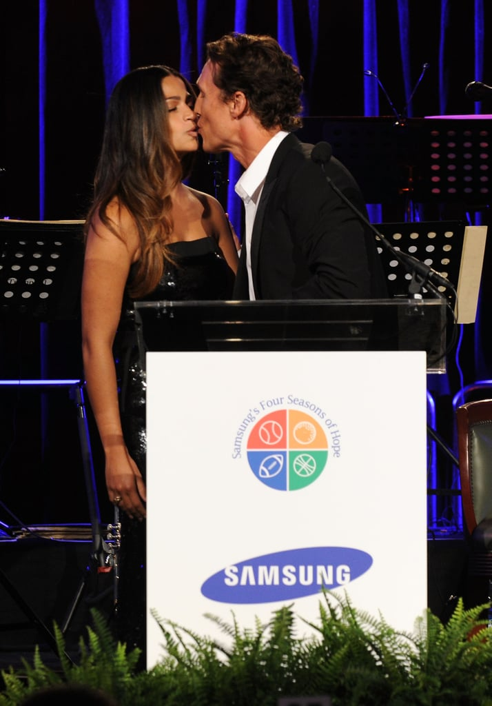 Camila Alves got a kiss from Matthew McConaughey at the Four Seasons of Hope Gala in NYC in June 2010.