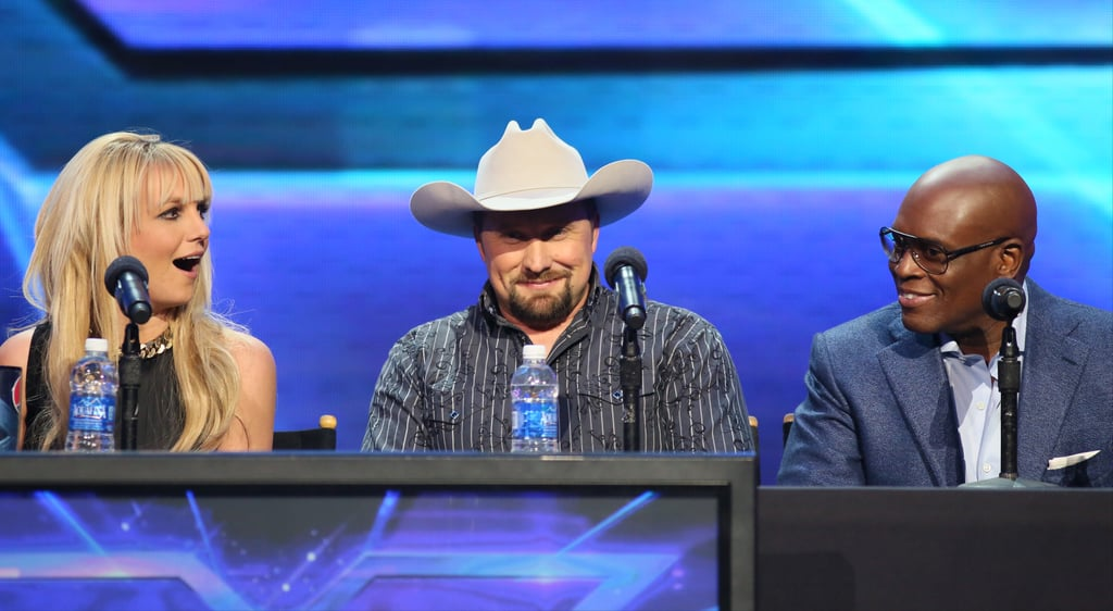 Britney Spears sat next to finalist Tate Stevens and judge L.A. Reid.