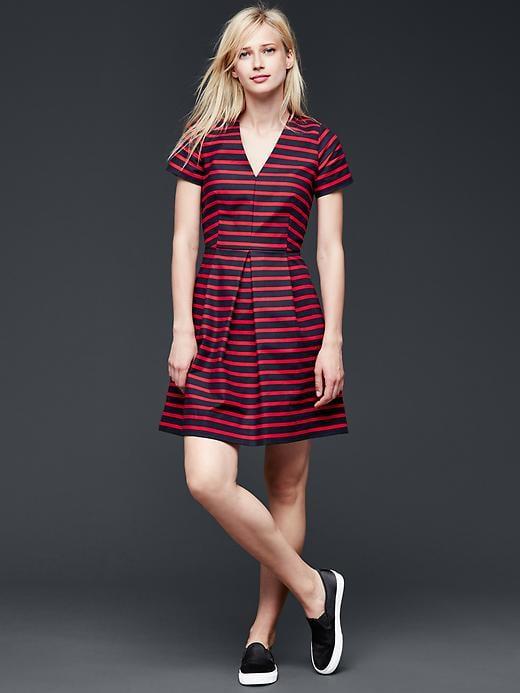 Gap Stripe Pleated Fit Amp Flare Dress 80 Modest