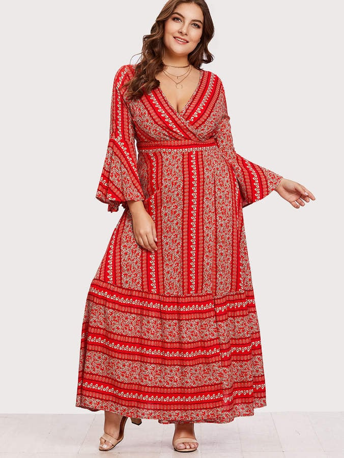47cb972131 SheIn Flounce Sleeve Ditsy Print Wrap Dress | Cheap Maxi Dresses ...