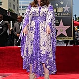 The actress was pretty in purple as she was honored with a star on the Hollywood Walk of Fame.