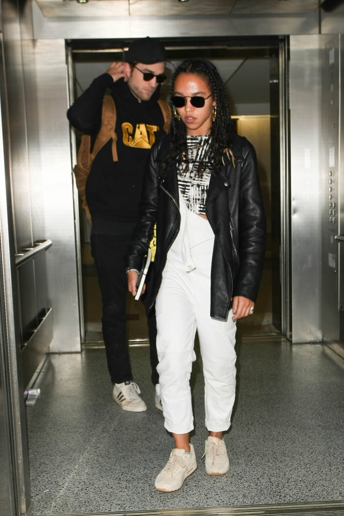 Robert Pattinson and FKA Twigs were spotted arriving at LAX on Monday. The couple, who's been going strong since August 2014, kept a low profile in sunglasses and sneakers and steered clear of PDA as they made their way out of the airport. Despite recent breakup rumors, it appears Rob and FKA Twigs are still going strong and their engagement is still on. Rob recently wrapped up production for The Lost City of Z, Good Time, and Damsel, so expect to see more of him in the months to come.       Related:                                                                The Few Times Robert Pattinson and FKA Twigs Have Talked About Each Other Will Make You Swoon                                                                   Who Has Robert Pattinson Dated? He's Been Linked to a Lot of Leading Ladies