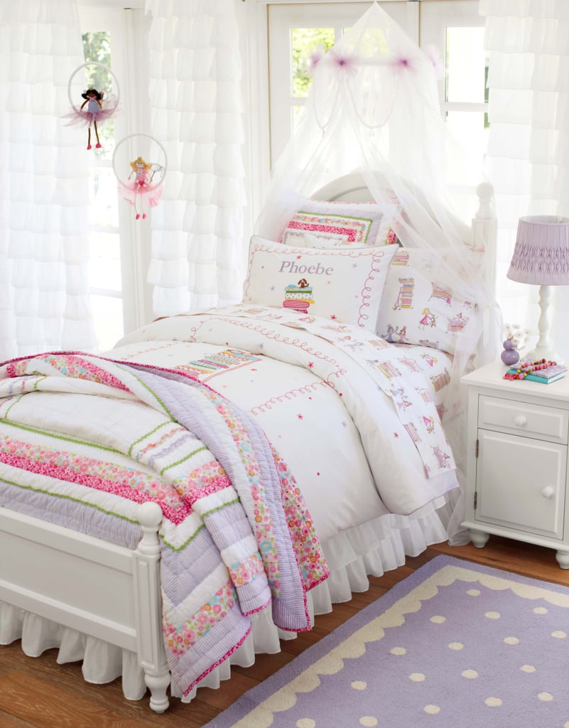 Classic literature is certainly making a comeback, and the new Phoebe bedding collection is the perfect example of it with its Princess and the Pea theme. With rickrack and ruffle detailing, as well as sketches from the story, it is a sweet addition to a lil girl's room. The gauzy hanging canopy helps contribute to the princess feel without making the room feel overdone.