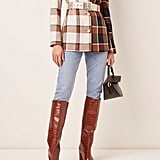 Staud Pepper Belted Plaid Coat