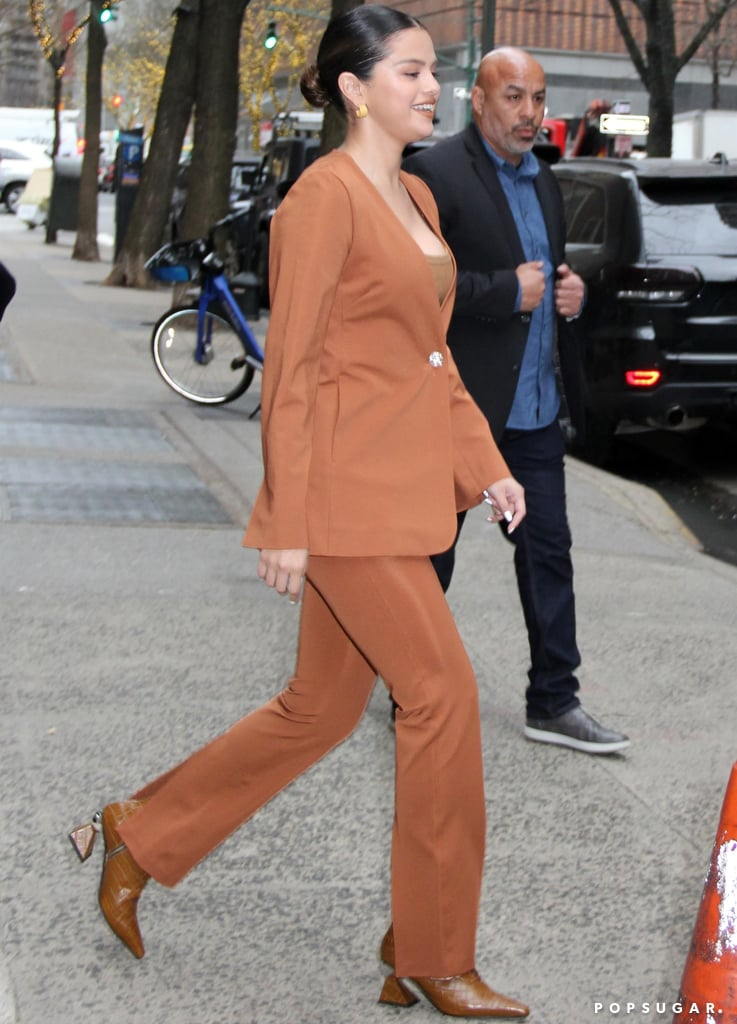 Selena Gomez's Burnt-Orange Suit and Yuul Yie Croc Boots