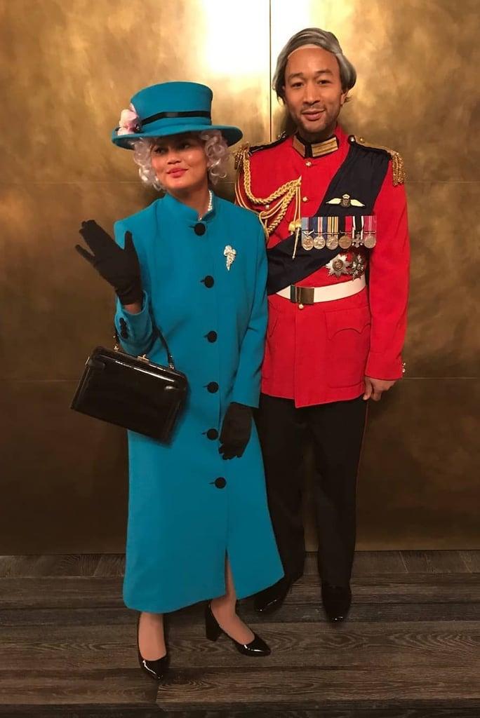 Chrissy Teigen and John Legend as Queen Elizabeth II and Duke Of Edinburgh