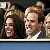 Prince William and Kate Middleton laughed and waved British flags  during the Diamond Jubilee concert in June.