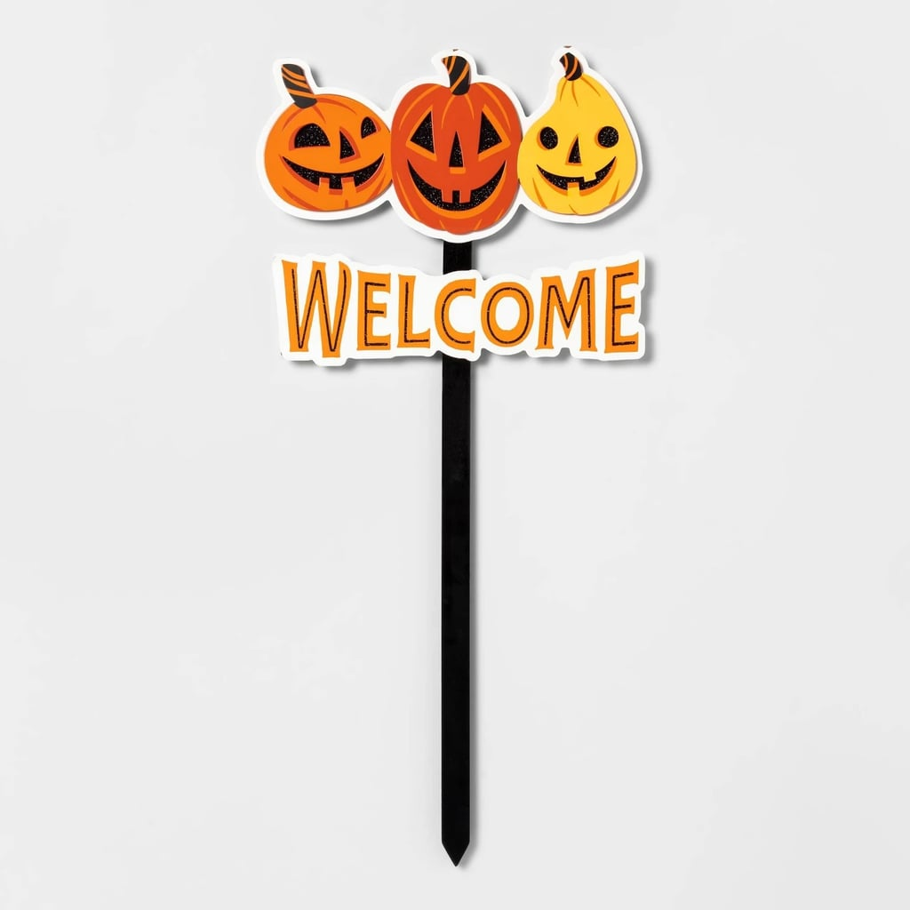 Pumpkin Welcome Halloween Yard Stake