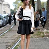 Chiara Ferragni gave a high-fashion white and black look a dressed-down finish with her Supergas.