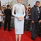 For the Moscow premiere of The Amazing Spider-Man, Emma chose a soft blue Emilio Pucci dress and nude Christian Louboutin pumps.