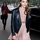 Jessica Alba looked gorgeous in a light pink dress in South Korea.