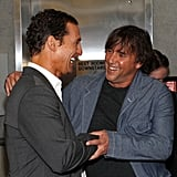 Matthew McConaughey chatted with director Richard Linklater at the New York premiere of Bernie.