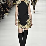She Strutted Down the Catwalk in Black and Gold at Versace