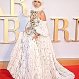 Lady Gaga tapped Alexander McQueen for a Victorian-inspired ensemble at the UK premiere of A Star Is Born.