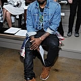 Kanye West sat front row for the Louise Goldin show on Saturday.