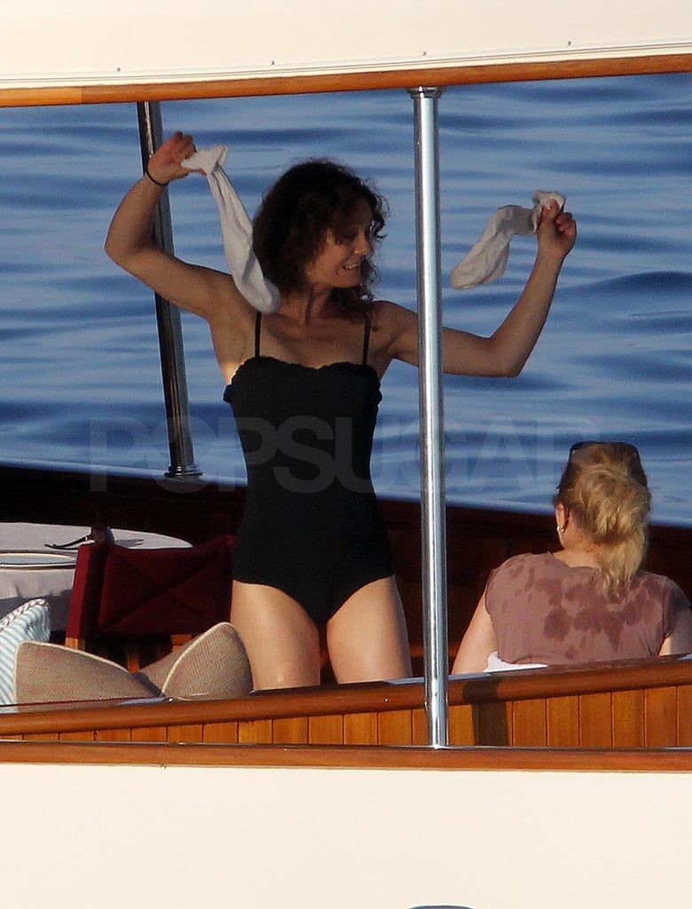 Vanessa Paradis did a silly dance on board their luxury yacht.