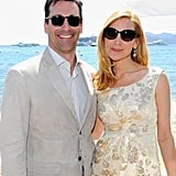 Jon Hamm picked out Giorgio Armani sunglasses and Jennifer Westfeldt went with Kate Spade at the Solstice Sunglass Boutique inside the Stella Artois Lounge at Cannes.
