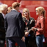 Prince Harry and Sir Richard Branson chatted with Isabella Calthorpe, who is the sister of Harry's girlfriend, Cressida Bonas.