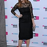 Judy Greer smiled in a black lace dress.