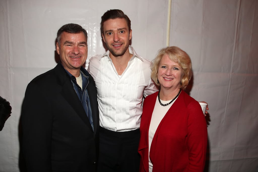 Justin Timberlake posed with American football legend Mike White at DIRECTV's Super Saturday Night event in New Orleans in 2013.