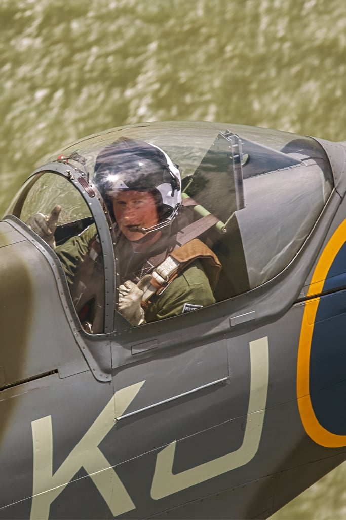 In April 2015, Harry flew in a Spitfire to promote his scholarship, which offers training for wounded servicemen and women.