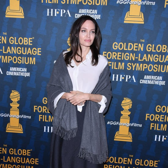Angelina Jolie Wearing White Tie-Front Blouse