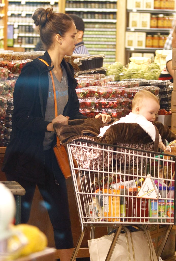 Haven Warren sat in the front of a shopping cart on a grocery shopping trip to Whole Foods in LA with mom Jessica Alba.