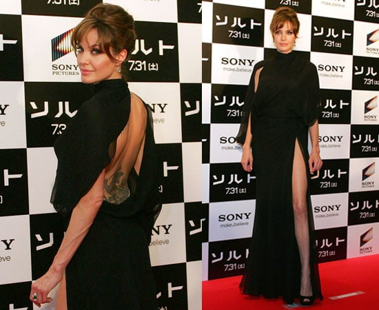 Angelina Jolie at Salt Japan Premiere in Backless Slashed Leg Dress