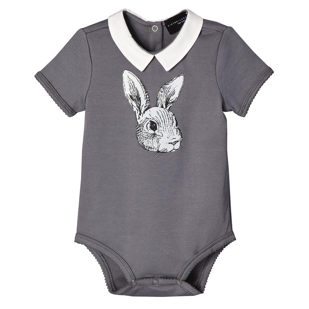 Baby Dark Grey Bunny Collared Bodysuit  ($13)