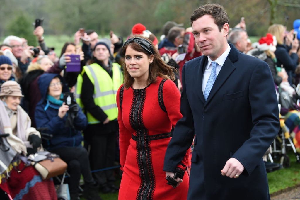 6223acf1f179 Princess Eugenie Red Dress on Christmas Day 2018 | POPSUGAR Fashion ...