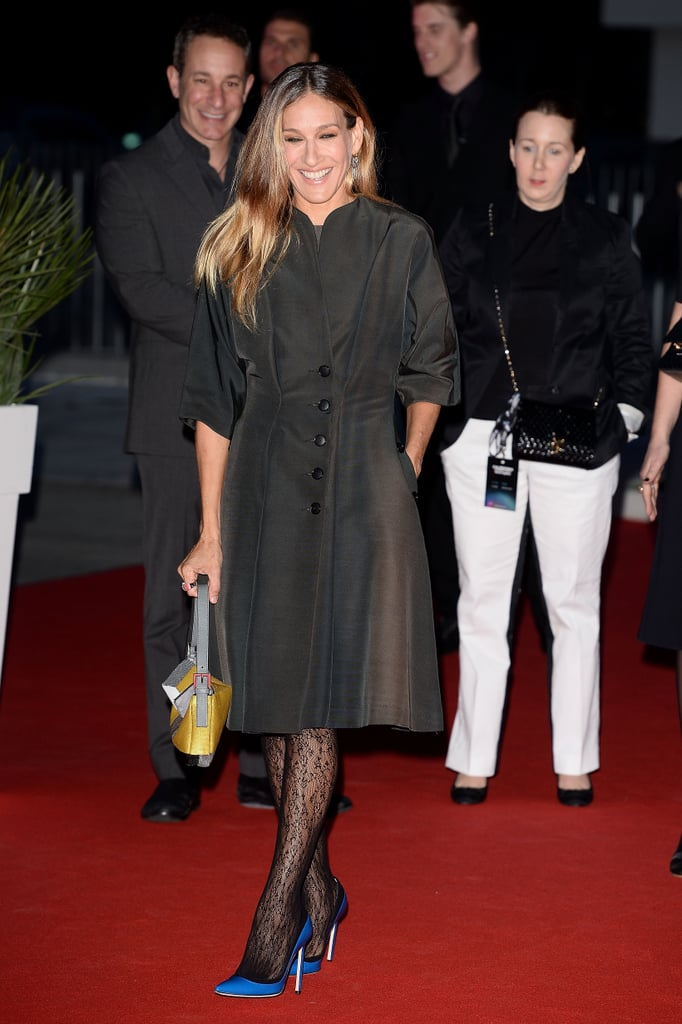 Sarah Jessica Parker donned bright blue shoes in Italy.