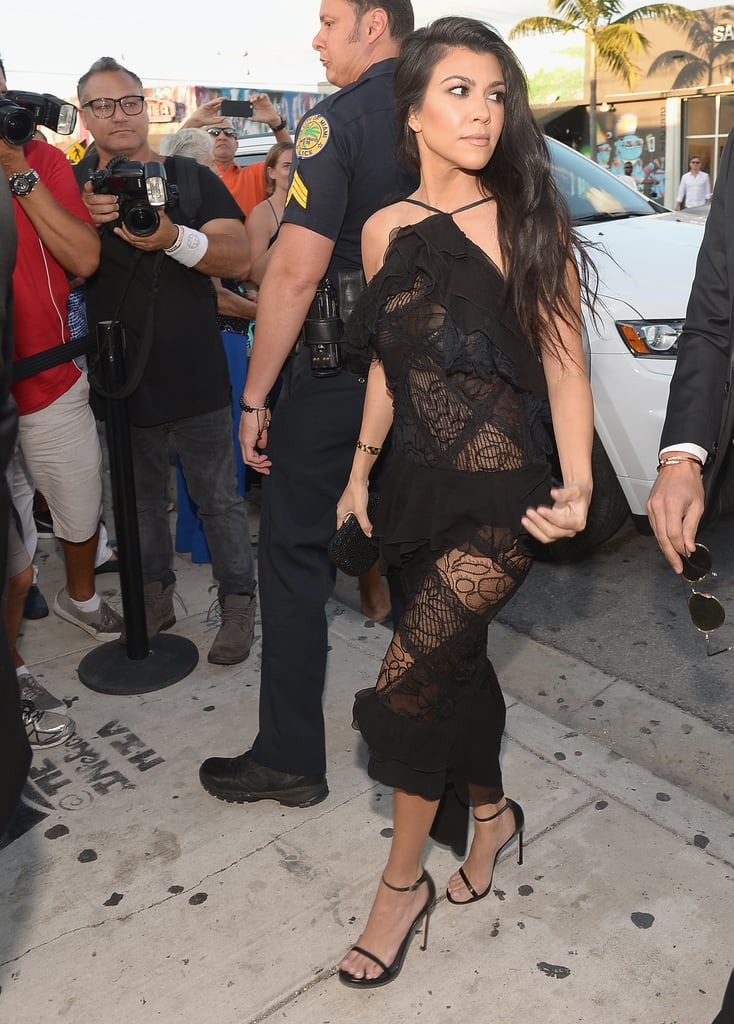 In a Sheer Lace Dress