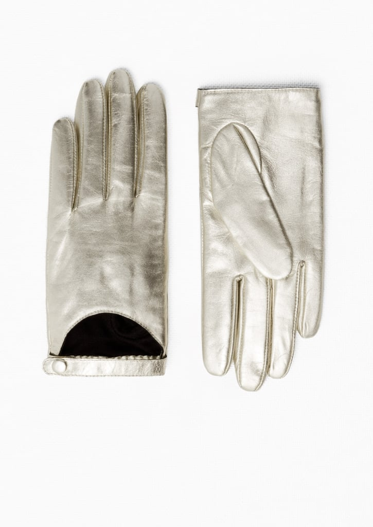 & Other Stories Golden Leather Cut-Out Gloves