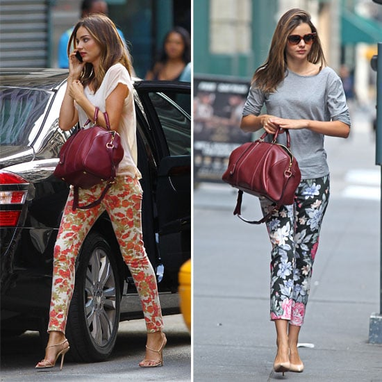 Miranda Kerr Snapped On the Street in Floral Printed Pants Two Days, in Two Different Ways: Shop Her Style!