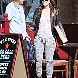 Drew Barrymore wore camouflage skinny jeans to meet a friend for lunch.