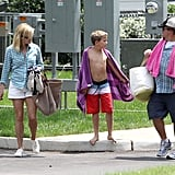Reese Witherspoon and her brother, John, took her son Deacon to a Nashville pool.
