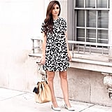 A Printed Dress and Classic Pumps