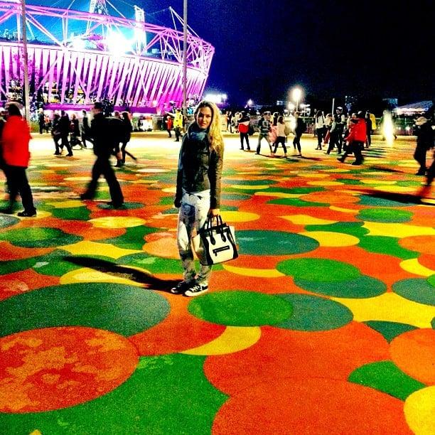 Bar Refaeli posed at Olympic Park.  Source: Twitter user barrefaeli