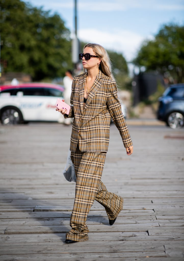 In a boxy cut, a plaid suit takes on a more contemporary feel.