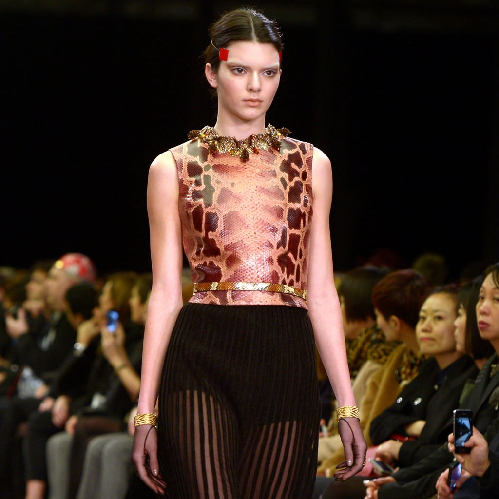 kendall jenner models on the givenchy fall 2014 runway