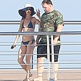 Juliette Lewis, who was in What's Eating Gilbert Grape with Leo, joined him on the yacht on Tuesday.