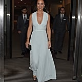 Pippa Middleton looked as gorgeous as ever in a pale-blue gown as she left a fundraising ball on Wednesday evening.