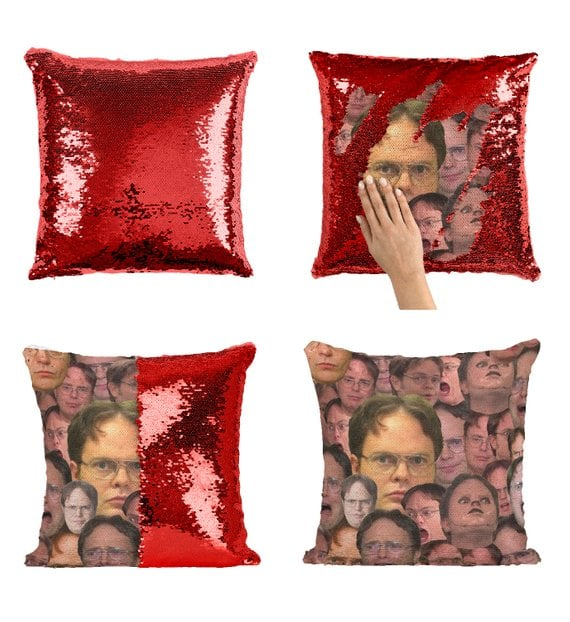 Dwight Schrute Faces Sequin Pillow