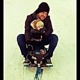 Hilary Duff and Mike Comrie took lil Luca on his first sled ride when he was a mere 7 months old. Source: Twitter user HilaryDuff