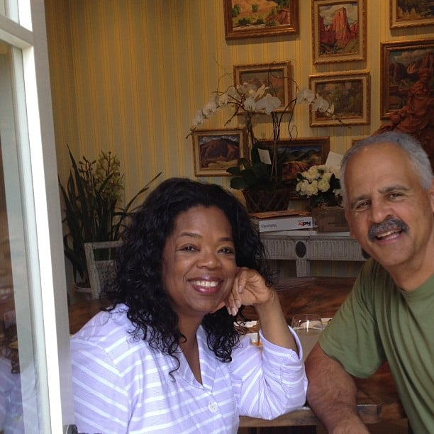 "Oprah gave fans a peek at how she spent her birthday — lunch with boyfriend Stedman Graham and ""no plans to leave PJs all day."" Source: Instagram user oprah"