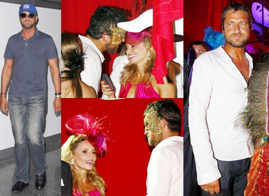 Photos of Gerard Butler Flirting With Actress Rita Guedes Wearing Mask at Rio Carnival in Brazil